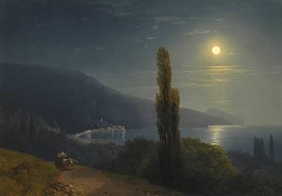 Sailing At Night Painting - Crimean Coast In Moonlight 1859 by Ivan Konstantinovich Aivazovsky