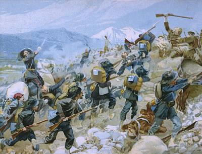 Italian School Painting - Crimean War And The Battle Of Chernaya by Italian School