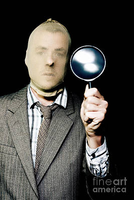 Scrutiny Photograph - Criminal With Magnifying Glass by Jorgo Photography - Wall Art Gallery