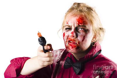 Criminal Zombie Pointing Revolver Art Print