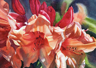 Bronze Painting - Crimson And Bronze Rhododendron by Sharon Freeman