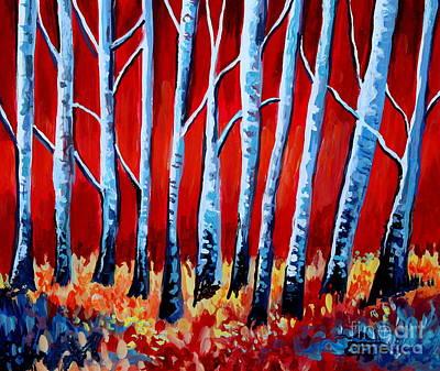 Crimson Birch Trees Art Print by Elizabeth Robinette Tyndall
