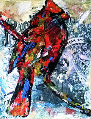 Mixed Media - Crimson Cardinal by Lisa McKinney