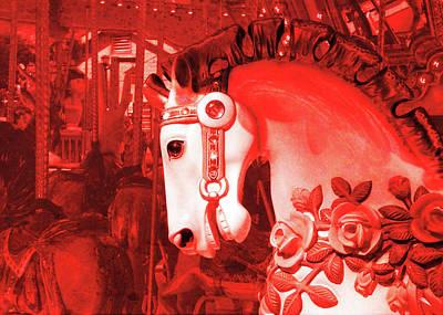 Crimson Carousel Art Print by JAMART Photography