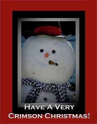 Photograph - Crimson Christmas Snowman by Lesa Fine