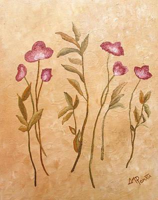Crimson Flowers Art Print by Angeles M Pomata