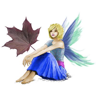 Digital Art - Crimson King Maple Tree Fairy With A Leaf by Yuichi Tanabe