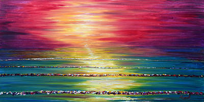 Painting - Biarritz Sunset France by Pete Caswell