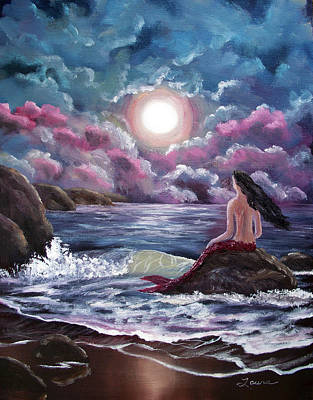 Crimson Mermaid Original by Laura Iverson