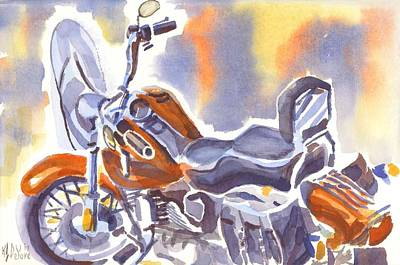 Crimson Motorcycle In Watercolor Print by Kip DeVore