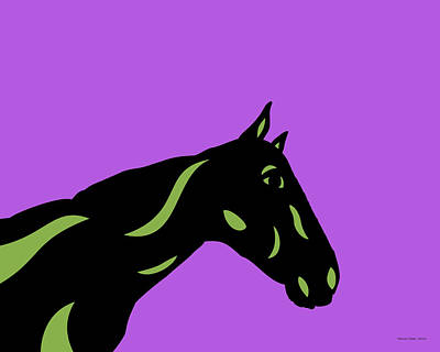 Crimson - Pop Art Horse - Black, Greenery, Purple Art Print