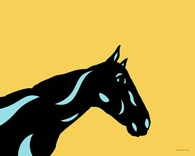 Crimson - Pop Art Horse - Black, Island Paradise Blue, Primrose Yellow Art Print