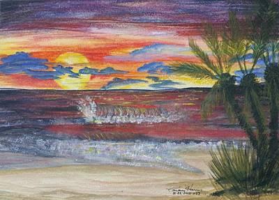 Crimson Sunset Original by Carlene Harris