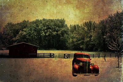 Snowy Trees Mixed Media - Crimson Winter Antiqued by Lesa Fine
