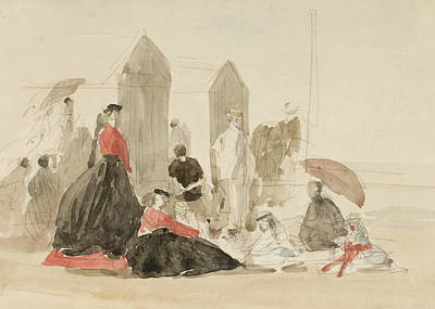 Crinolines And Cabins Art Print by Eugene Boudin