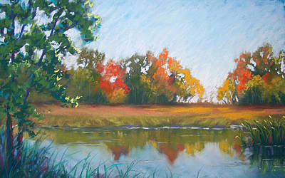 Crisp Autumn Morning Spears Woods Print by Christine Camp
