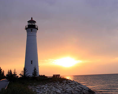Photograph - Crisp Point Lighthouse At Sunset by George Jones