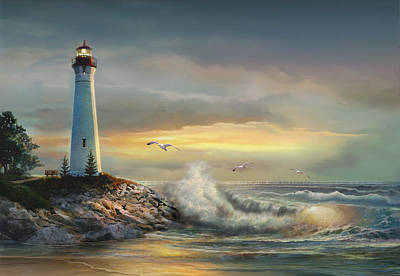 Crisp Point Lighthouse At Sunset  Art Print by Regina Femrite