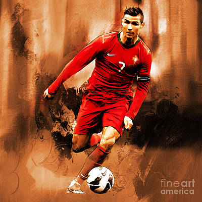 Football Painting - Cristiano Ronaldo 08 by Gull G