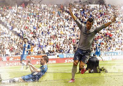 Sergio Ramos Wall Art - Digital Art - Cristiano Ronaldo Celebrates A Goal  by Don Kuing