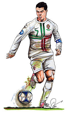 Soccer Drawing - Cristiano Ronaldo by Dave Olsen