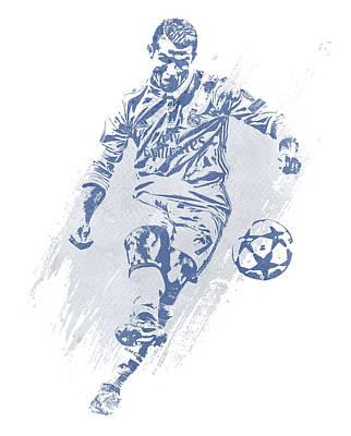 Dor Wall Art - Mixed Media - Cristiano Ronaldo Real Madrid Water Color Art 2 by Joe Hamilton