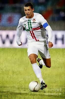 Painting - Cristiano Ronaldo - Soccer Legend by Ian Gledhill