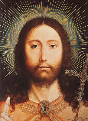 Blessings Painting - Cristo Salvator Mundi by Quentin Massys