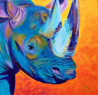 Painting - Critically Endangered Black Rhino by Artistic Indian Nurse