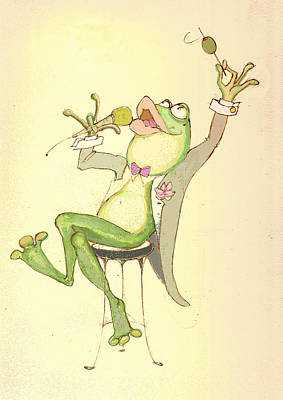 Frogs Mixed Media - Croaky Karaoke by Peggy Wilson