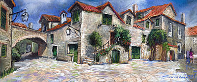 On Paper Painting - Croatia Dalmacia Square by Yuriy  Shevchuk