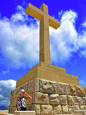 Dubrovnik Massive Stone Cross Of Peace On Srd Hill Summit Next To Art Print by Wilf Doyle