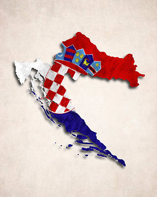 Eastern Europe Digital Art - Croatia Map Art With Flag Design by World Art Prints And Designs