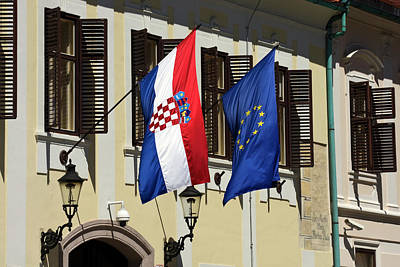 Photograph - Croatian And European Union Flags  by Sally Weigand
