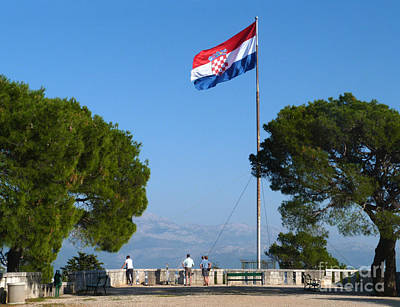 Photograph - Croatian Flag - Split by Phil Banks