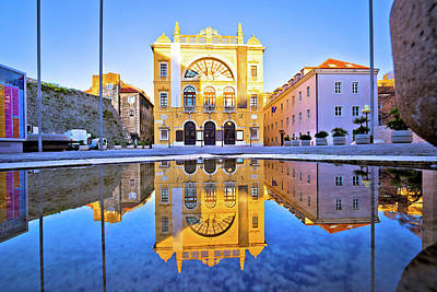 Science Collection - Croatian national theatre of Split water reflection view by Brch Photography