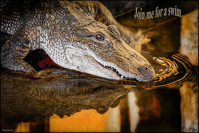 Photograph - Croc Join Me For A Swim by LeeAnn McLaneGoetz McLaneGoetzStudioLLCcom