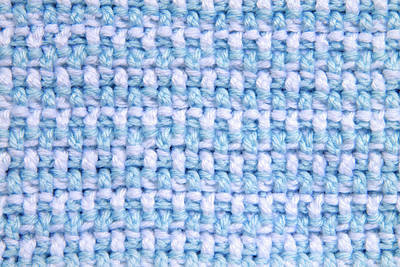 Natural Finish Photograph - Crochet Pattern - Blue And White Double Stitch by Sheila Fitzgerald