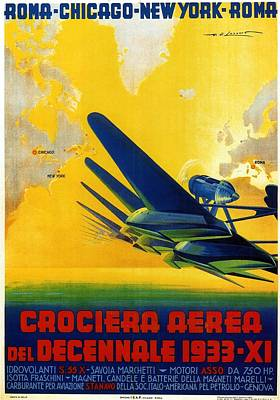Royalty-Free and Rights-Managed Images - Crociera Aerea Del Decennale 1933 - Airplane - Retro travel Poster - Vintage Poster by Studio Grafiikka