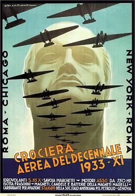 Cities Mixed Media - Crociera Aerea Deldecennale 1933 - Retro travel Poster - Vintage Poster by Studio Grafiikka