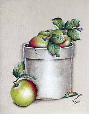 1920s Flapper Girl - Crock of Apples Acrylic Painting by Cindy Treger