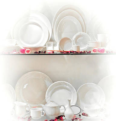 Ceramic Plate Photograph - Crockery Set by Charuhas Images