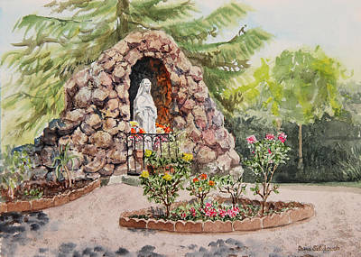 St Mary Painting - Crockett California Saint Rose Of Lima Church Grotto by Irina Sztukowski
