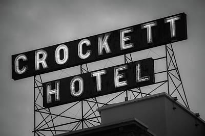 Photograph - Crockett Hotel Vintage Neon Black And White - San Antonio by Gregory Ballos