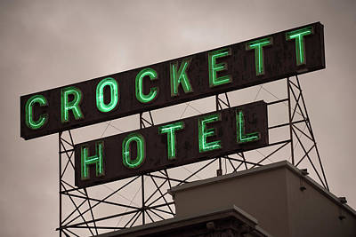 Photograph - Crockett Hotel Vintage Neon - San Antonio by Gregory Ballos
