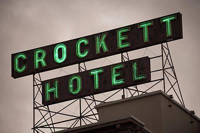 Photograph - Crockett Hotel Vintage Neon - San Antonio by Gregory Ballos