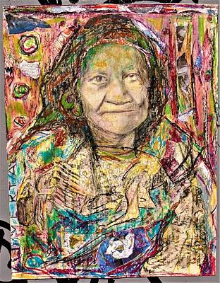 Crocodile Mixed Media - Crocodile Wildebeast Old Woman by Teresa Omerta Moll-Arruza