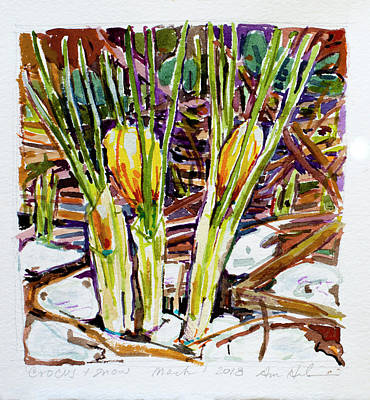 Painting - Crocus In The Snow by Ann Heideman