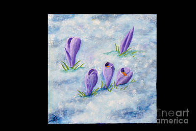 Painting - Crocus In The Snow by Jack Hedges