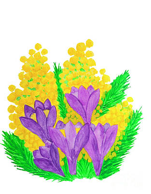 Painting - Crocuses And Mimosa by Irina Afonskaya